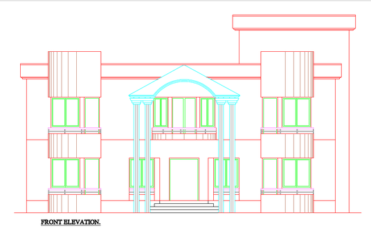 draw 2d elevation section and floor plan