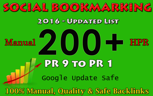 I will Do 200 Manual Social Bookmarking Submissions PR 9 to 1