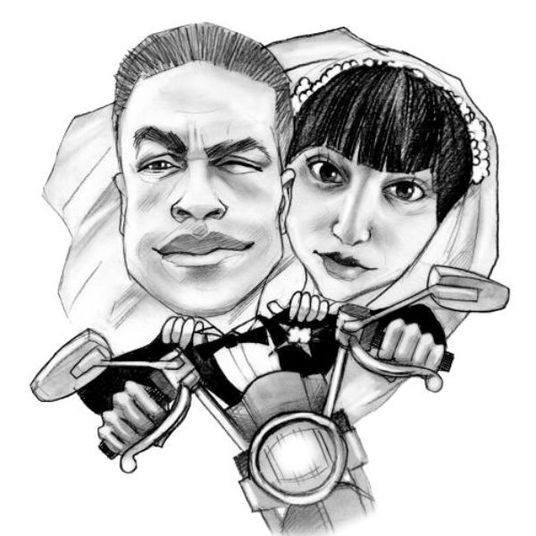 I will draw a black and white pencil personalized cupid couple caricature from photo as romantic