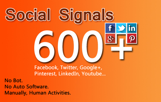 I will add 600 social signals- 150 Google +, 150 Facebook Share, 150 ReTweets, 150 Pinterest..