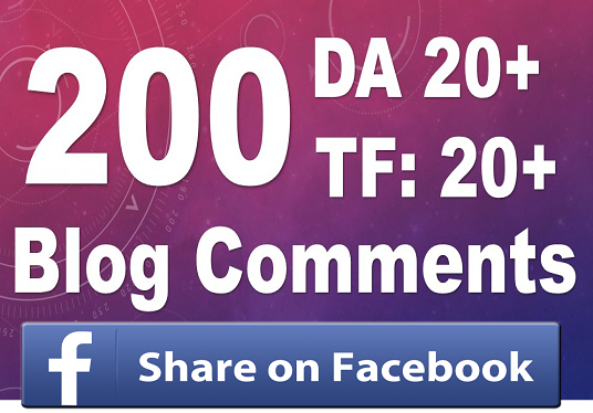 I will 200 Blog dofollow Comments high da pa with FB share