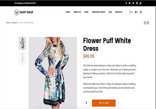I will  create your eCommerce site or online store by using WordPress theme