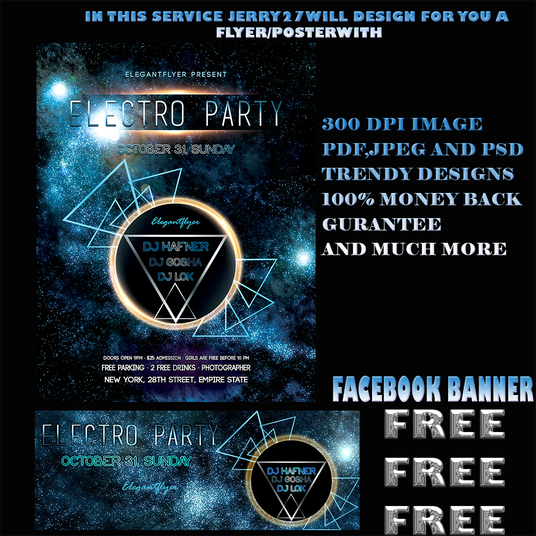 I will design a flyer and poster with free cover