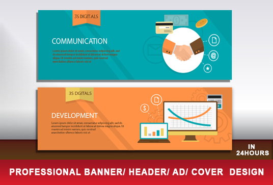 I will design a Professional web banner,header,ad,cover