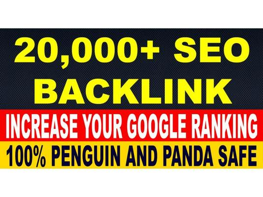 I will build 20000 + authority backlinks for Google ranking