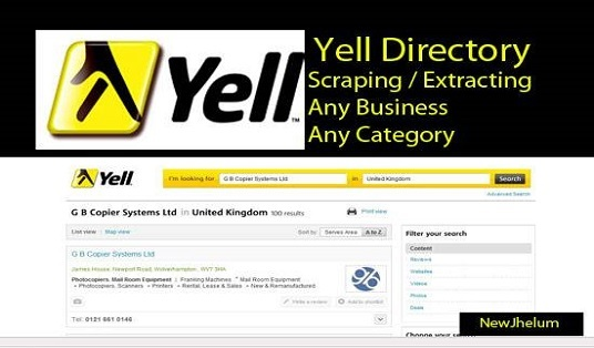 I will scrape business data from yell or yellow pages