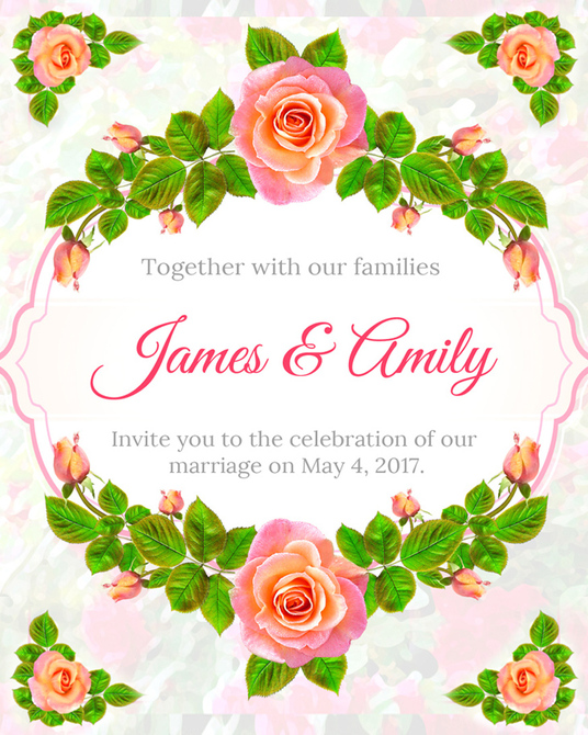 I will design Elegant Floral Wedding Invitation in 24 hours