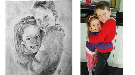 I will draw a realistic portrait of your family and friends