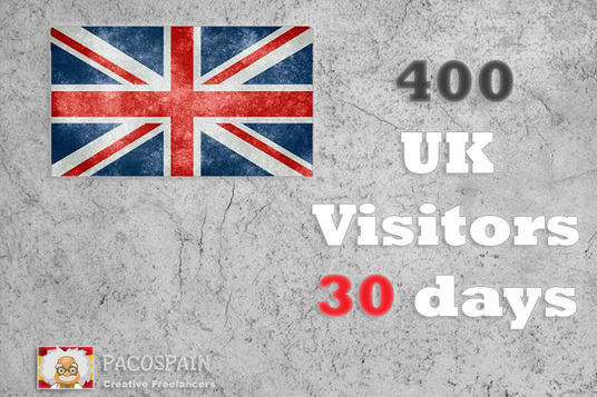 I will send 400+ UK Targeted Visitors for 30 Days with low bounce rate