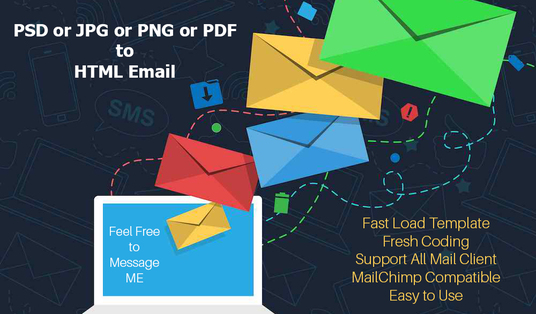 convert jpg or png or pdf of psd to html email template for £5 ...