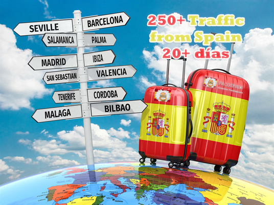 I will send 250+ traffic from Spain for 20 days