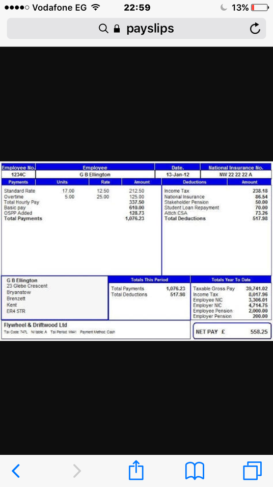 I will create pay slips using your details and wage