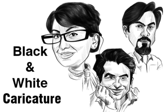 I will do black and white caricature