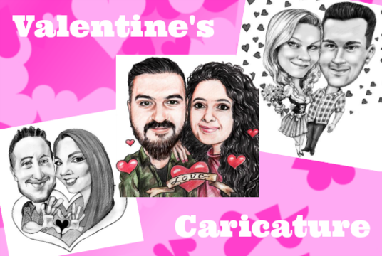 I will draw  caricature from photo as original gift for romantic couple Valentines gift