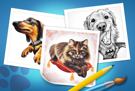 I will draw a caricature portrait of your pet  from  photo for cat or dogs lovers as an unique gi