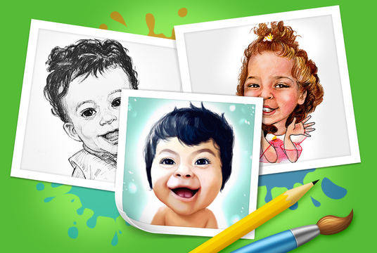 I will draw the caricature portrait of your child in pencils as a funny family gift or birthday g