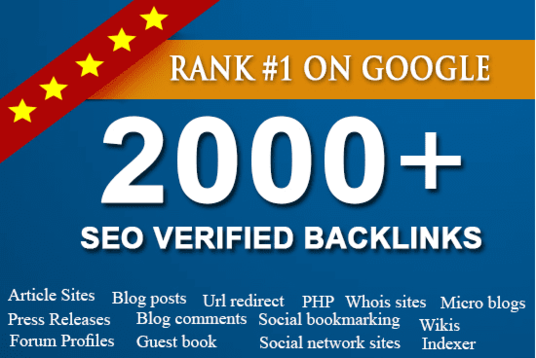 2000 Verified SEO Backlinks for Google 1st Page ranking