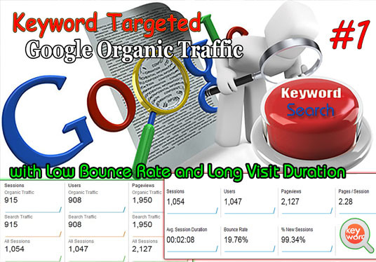 I will Send Unlimited Keyword Targeted Google Organic Traffic with Low Bounce Rate for 30 Days