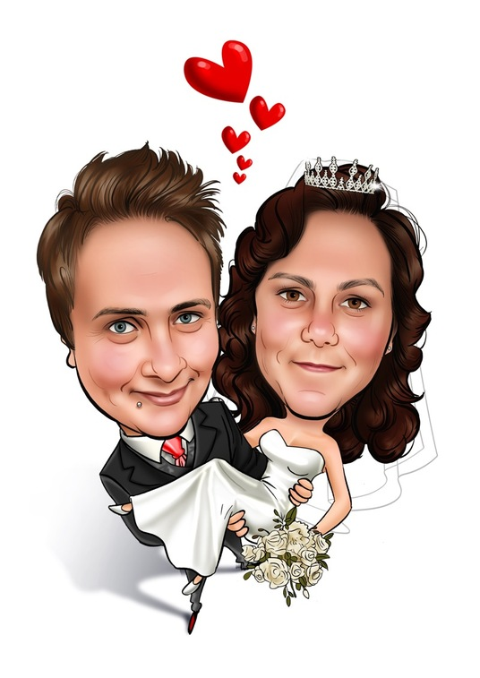 I will create romantic caricatures from your own photos