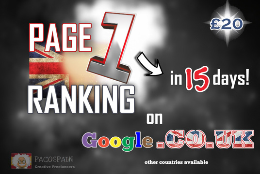 I will rank you on page 1 on Google.CO.UK in 15 days