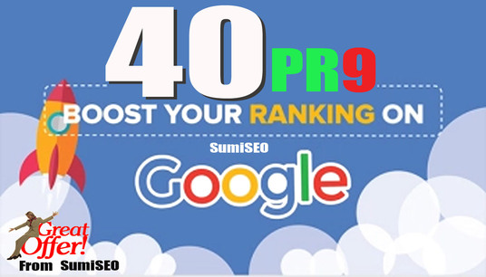 I will Site Ranking with 40 PR9 High Quality backlinks from Authority Domins