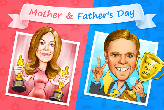I will draw a wonderful Mother's Day or Father's Day cartoon drawing