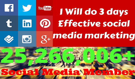 I will Do  three-day EFFECTIVE Social Media Marketing