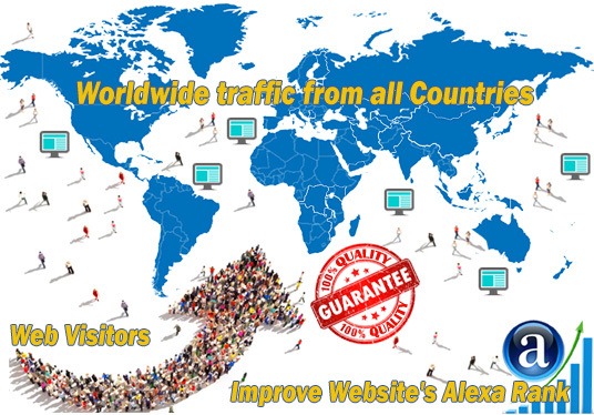 I will send you real worldwide website traffic visitors from all countries