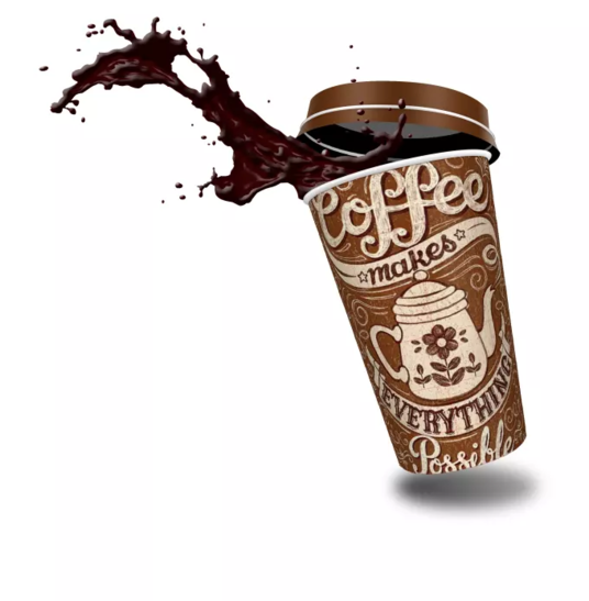I will design 3D takeaway coffee cup with your text,logo,picture