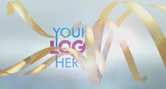 design elegant Gold Ribbon Logo Reveal intro video opening