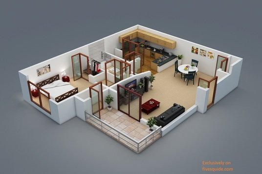 Create interior exterior and 3d floor plan for 5 archi for Creation plan 3d