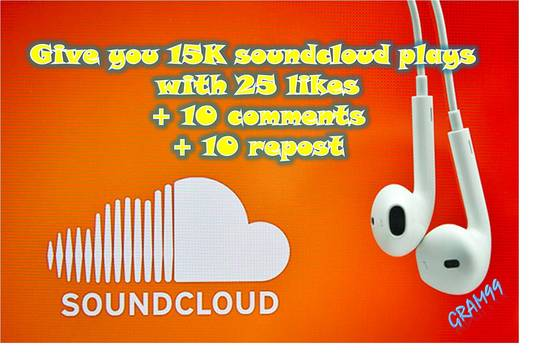 Give you 15K soundcloud plays with 25 likes + 10 repost +rn10 comments