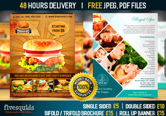 I will design attractive flyers, brochures, postcards, rackcards, posters, Business cards within
