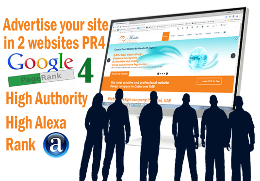 I will advertise your site ad on 2 pr4 web design company sites