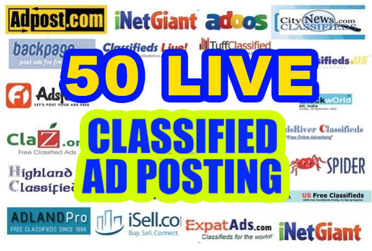 I will post your Ads on 50 top rated classified website