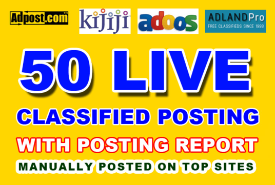 post your Ads on 50 top rated classified website