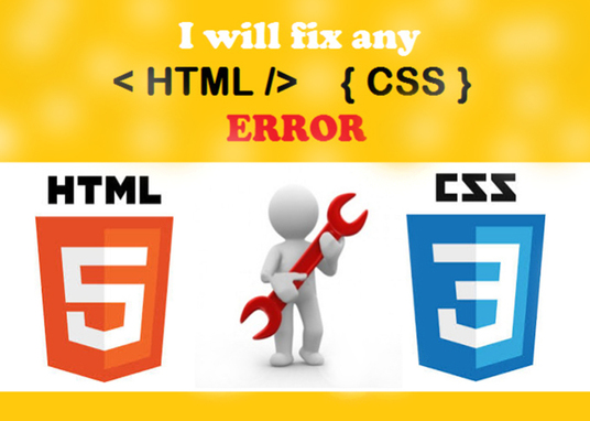 I will fix HTML and CSS bug or Issue