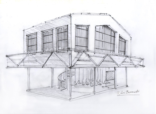 provide concept architecture buildings by handmade sketches