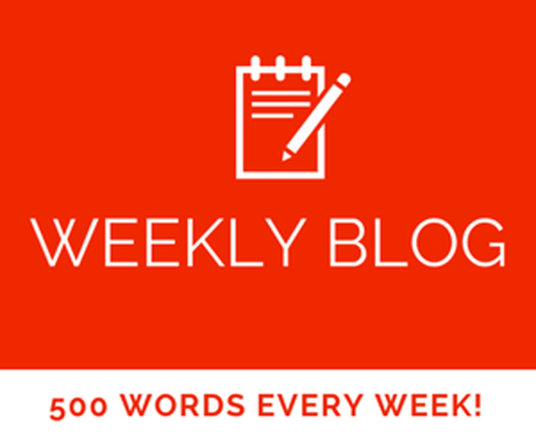 I will write a weekly blog post of up to 500 words