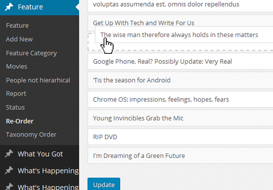 install a system to let you Re-order your Post (Blog) position in WordPress by dragging mouse