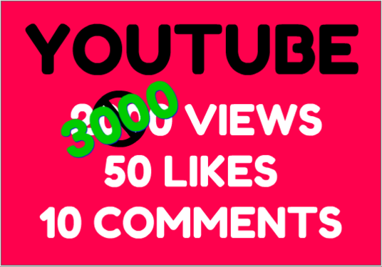 I will help you with your YouTube video with 3000 views + 50 likes & 10 custom comments