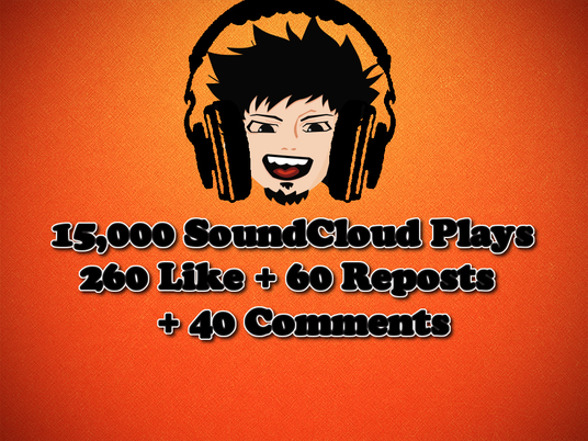 I will Give You 15,000 PLAYS + 260 SOUNDCLOUD LIKES + 60 REPOST + 40 COMMENTS