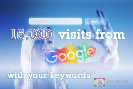send Organic Traffic 15,000+ visits from Google with your keywords