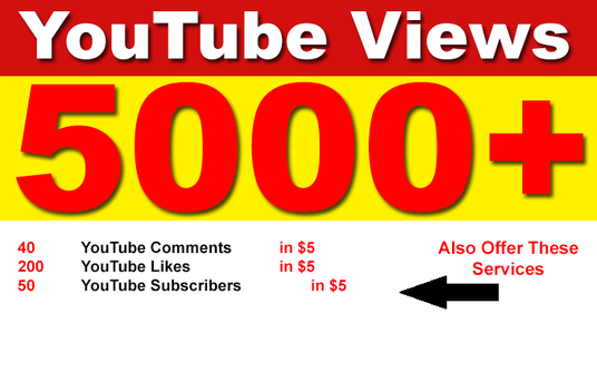 I will add 5000 High Retention Permanent YouTube Views