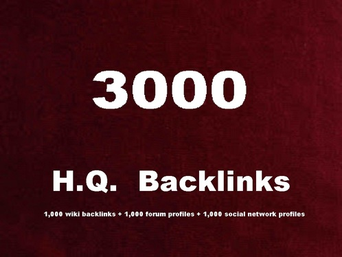 Create   High Quality 1,000 wiki backlinks + 1,000 forum profiles + 1,000 social network