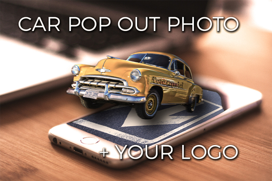 put your logo on this car pop out of smart phone photo