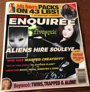 create a National Enquirer style paper with a picture, messages & logo, Alien Style