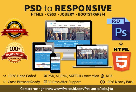 I will Convert PSD To Responsive HTML5 Css3 Using Bootstrap 3/4