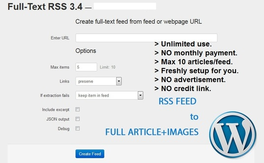 I will setup a FULL TEXT RSS web app for your AUTOBLOGGING needs