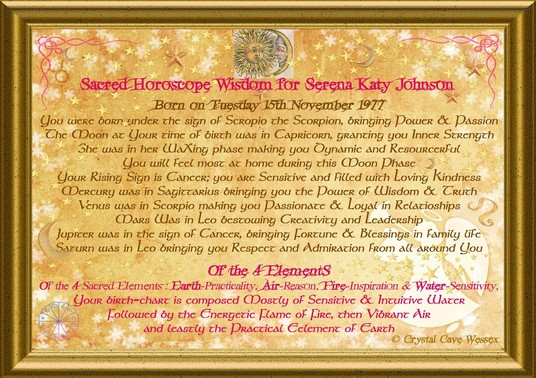 I will send you a decorated, personalised horoscope description  for your day of birth by email P